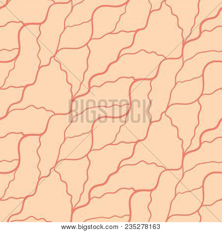 Seamless Pattern With Abstract Irregular Wavy Red Lines On Orange Background. Cracked Ground Or Bloo