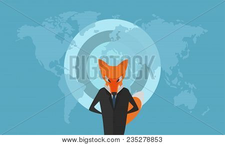 Stylized Fox Dressed As A Businessman In Dark Suit With Blue Tie Infront Of The Map Of The World. Li
