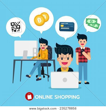 Online Shopping On Computer, Laptop And Mobile With Qr Code, Bitcoin, Credit Card, Money. Digital Ma