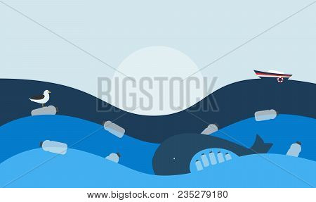 Vector Illustration. Poster With Ecological Theme: Plastic Pollution Of The Ocean. The Whale With Pl