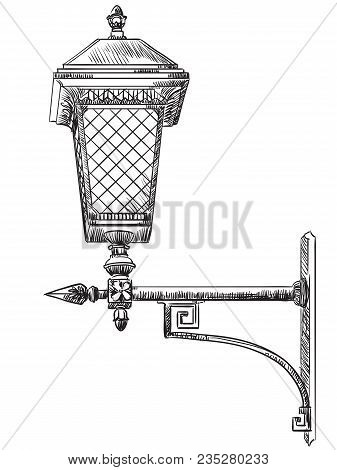 Hand Drawing Old Street Lamp Near Kremlin (moscow, Russia) Vector Monochrome Illustration In Black C