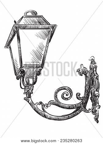 Hand Drawing Old Street Lamp Vector Monochrome Illustration In Black Color Isolated On White Backgro