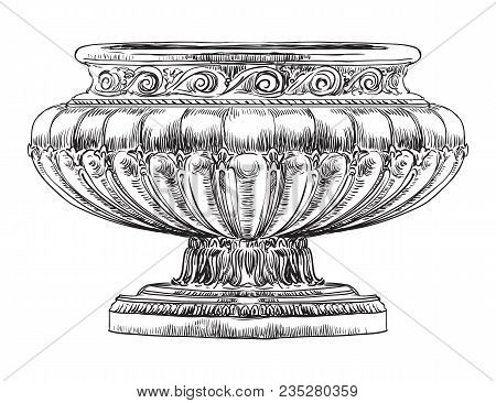 Ancient Carving Street Vase Vector Hand Drawing Illustration In Black Color Isolated On White Backgr