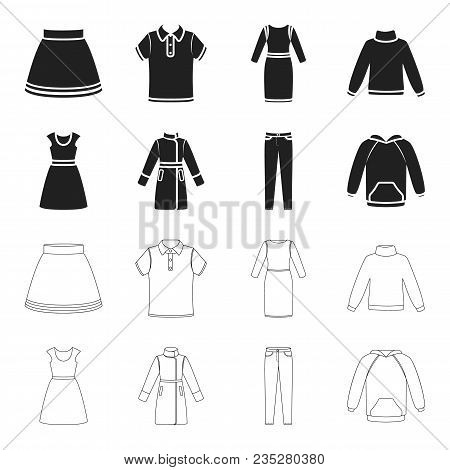 Dress With Short Sleeves, Trousers, Coats, Raglan.clothing Set Collection Icons In Black, Outline St