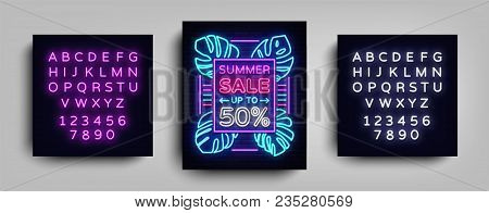 Summer Sale Neon Sign. Design Template Typography Poster Summer Sales, Tropical Flowers Neon, Summer