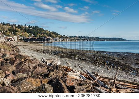 A View Of The Shoreline At Low Tide In West Seattle, Washington.