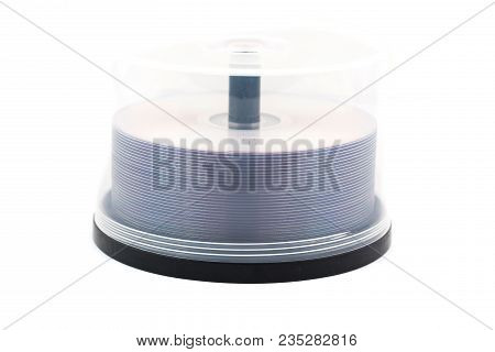 Dvd Or Cd Case Full Of Disc Media Against An Isolated White Background In Studio.