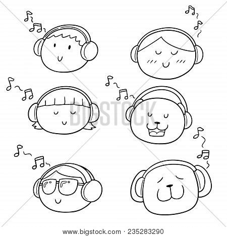 Vector Set Of People And Animal Listening Music