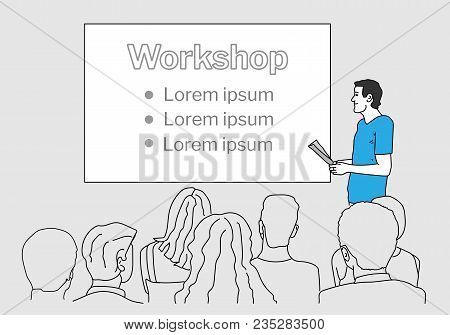 Speaker Giving A Talk To Audience With The Projector Screen On The Wall. Outline, Thin Line Art, Lin