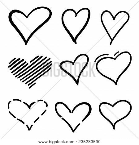 Set Of Outline Hand Drawn Heart Icon.hand Drawn Doodle Grunge Hearts Vector Set. Rough Marker Hearts