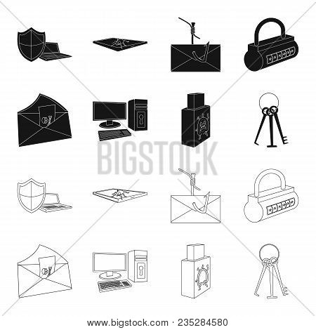Virus, Monitor, Display, Screen .hackers And Hacking Set Collection Icons In Black, Outline Style Ve