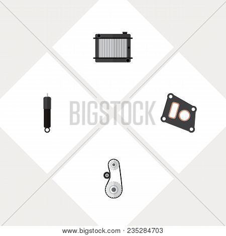 Icon Flat Component Set Of Radiator, Absorber, Belt Drive And Other  Objects. Also Includes Belt, Pa