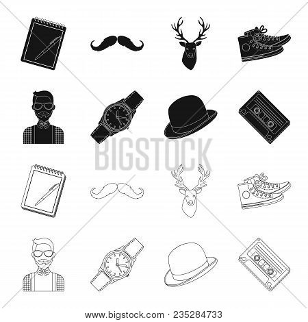 Hipster, Fashion, Style, Subculture .hipster Style Set Collection Icons In Black, Outline Style Vect