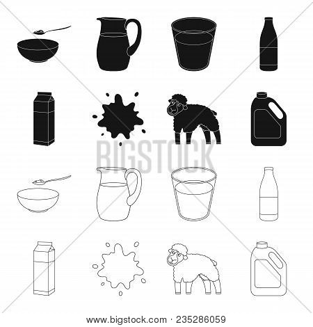 Billet Pack, Sheep.blue, Canister.moloko Set Collection Icons In Black, Outline Style Vector Symbol