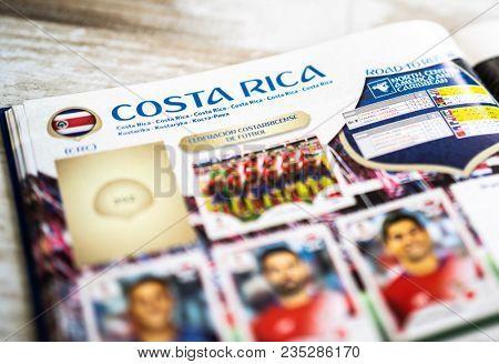 SAO PAULO, BRAZIL - CIRCA APRIL 2018: Panini FIFA World Cup Russia 2018 Official Licensed Sticker Album. (Costa Rica Page)