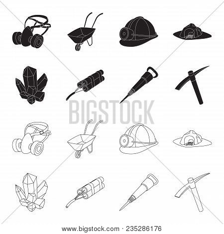 Minerals, Explosives, Jackhammer, Pickaxe.mining Industry Set Collection Icons In Black, Outline Sty