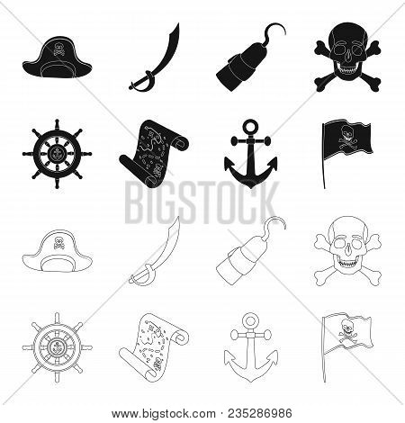 Pirate, Bandit, Rudder, Flag .pirates Set Collection Icons In Black, Outline Style Vector Symbol Sto