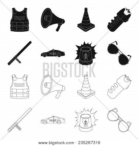 Police Baton, Auto, Flasher, Glasses.police Set Collection Icons In Black, Outline Style Vector Symb