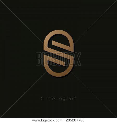 S Logo. S Letter Linear Emblem. S Gold Monogram Isolated, On Dark Background.