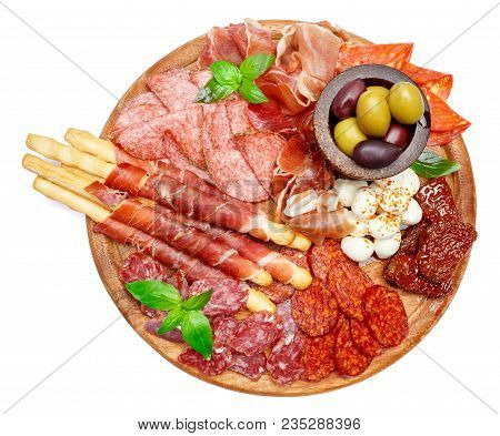 Traditional Italian Meat And Cheese Plate With Salami Sausage, Spanish Chorizo, Parma And Mozzarella