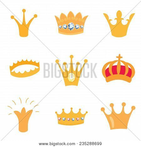 Set Of Gold Crown Icons. Collection Of Crown Awards For Winners, Champions, Leadership. Vector Isola