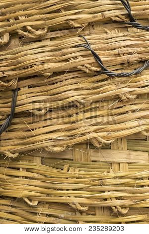 Background Of Stack Of Big Bamboo Basket Weave Texture