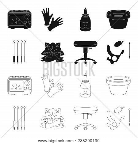 Chair On Rollers, Needles For Tattoo And Other Equipment. Tattoo Set Collection Icons In Black, Outl