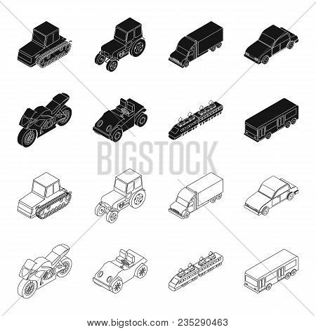 Motorcycle, Golf Cart, Train, Bus. Transport Set Collection Icons In Black, Outline Style Vector Sym