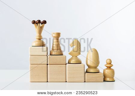 The Concept Of Career Development. Chess Queen On The Top Step Of The Career Ladder.