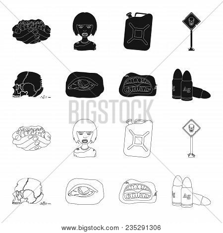 Zombies And Attributes Black, Outline Icons In Set Collection For Design. Dead Man Vector Symbol Sto