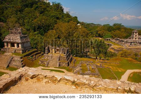Top View Of The Ancient Pyramids And Temples In The Archaeological Complex. Palenque, Chiapas, Mexic