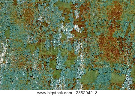 Old Metal Wall Background.cracked Green Paint On An Old Metallic Surface, Rusted Green Painted Metal