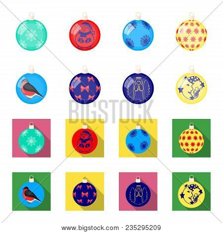 New Year Toys Cartoon, Flat Icons In Set Collection For Design.christmas Balls For A Treevector Symb