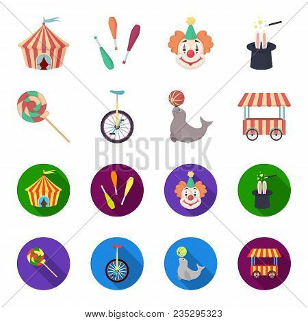 Lollipop, Trained Seal, Snack On Wheels, Monocycle.circus Set Collection Icons In Cartoon, Flat Styl