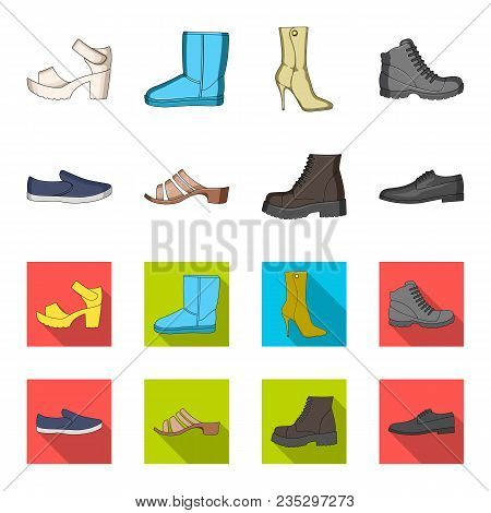 A Set Of Icons On A Variety Of Shoes.different Shoes Single Icon In Cartoon, Flat Style Vector  Symb