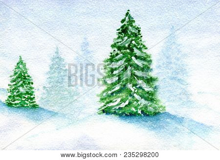 Winter Landscape, Snow-covered Fir Grove In The Fog Against A Cloudy Sky Background, Hand-painted Wa