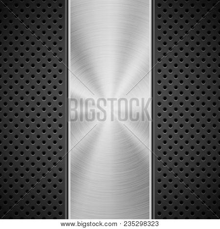 Black Technology Background With Grate Perforated Pattern And Circular Polished, Brushed Concentric