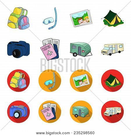 Vacation, Photo, Camera, Passport .family Holiday Set Collection Icons In Cartoon, Flat Style Vector