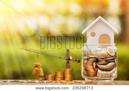 Stacking Gold Coins With Increase And Tower Crane And Hoist Brake Solutions And Money Bag And Jar Ba