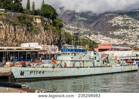 Funchal, Portugal - December 10, 2016: Military Ops Vessel Nrp Cuanza Moored At Seaport Of Funchal,