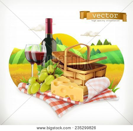 Time For A Picnic, Nature, Outdoor Recreation, A Tablecloth And Picnic Basket, Wine Glasses, Cheese