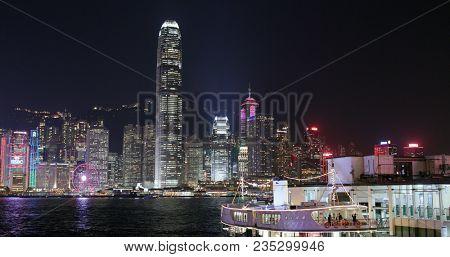 Victoria harbor, Hong Kong, 09 March 2018:- Hong Kong city at night