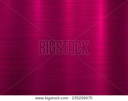 Magenta Metal Abstract Technology Background With Polished, Brushed Texture, Chrome, Silver, Steel,