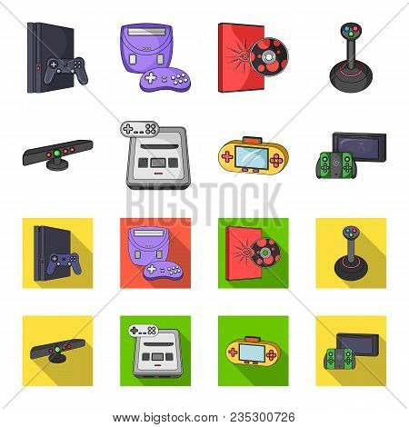 Game And Tv Set-top Box Cartoon, Flat Icons In Set Collection For Design.game Gadgets Vector Symbol