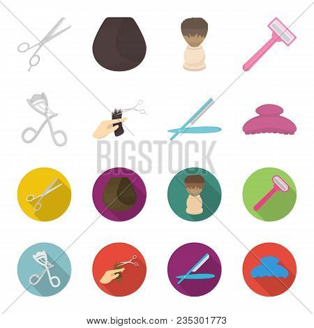 Scissors, Brush, Razor And Other Equipment. Hairdresser Set Collection Icons In Cartoon, Flat Style