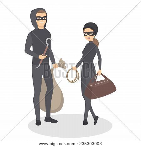 Isolated Thief Couple. Man And Woman Standing In Masks.