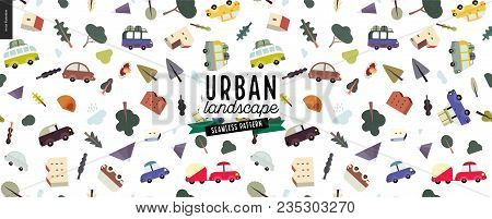 Urban Landscape Seamless Pattern - City And Park Landscape Elements - Houses, Trees, Cars. Travel To