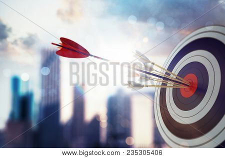 Target Hit In The Middle By Arrow. Business Concept Of Victory. 3d Rendering
