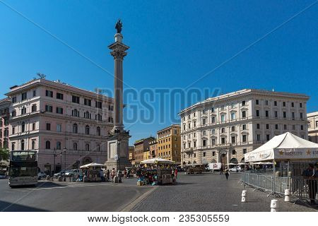 Rome, Italy - June 22, 2017: Amazing View Of Colonna Della Pace In City Of Rome, Italy