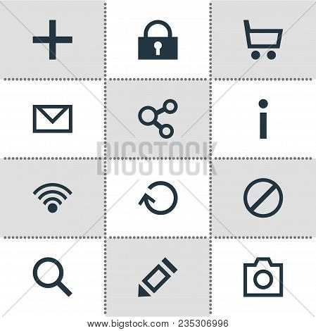 Illustration Of 12 Member Icons. Editable Set Of Share, Blocked, Write And Other Icon Elements.